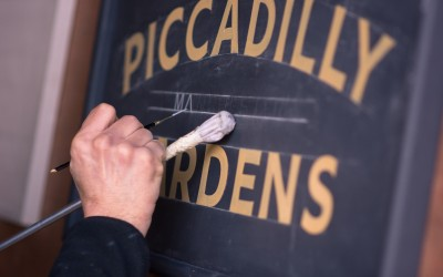 Aged handpainted signs for The National Trust